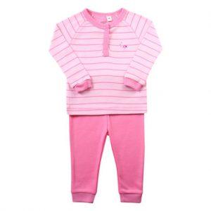 Bộ quần áo dài tay bé gái áo kẻ hồng LV-15
