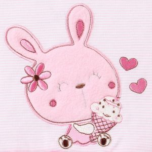 Body bé gái dài tay phối voan in hình thỏ hồng