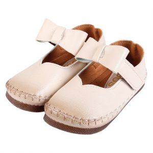 Giày búp bê tập đi nơ quai ngang trắng