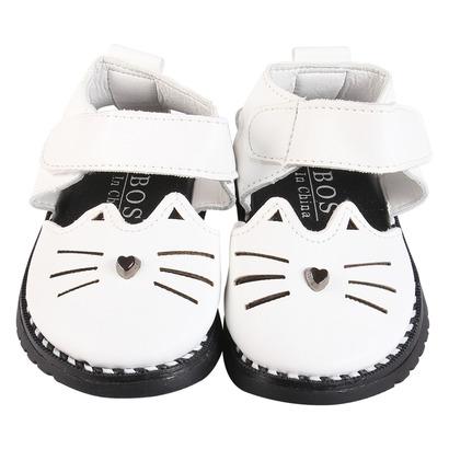 Giày búp bê tập đi quai ngang mèo trắng1