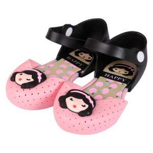 Giày nhựa bé gái cài quai màu xanh, hồng