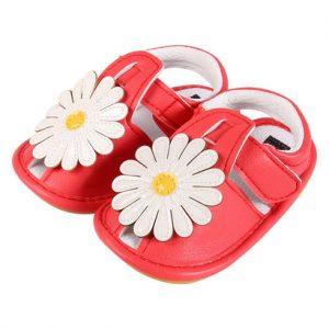 Giày tập đi bé gái rọ đính hoa đỏ LC03