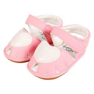 Giày tập đi bé gái rọ đính màu hồng