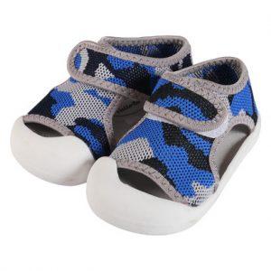 Giày tập đi bé trai vải rằn ri xanh OZ02