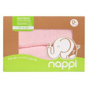 Hộp 2 khăn sợi tre Nappi đa năng 77 x 77 cm hồng