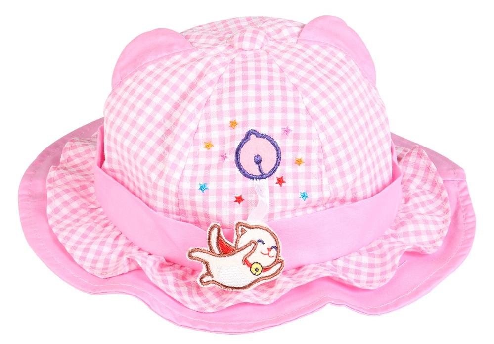 Mũ bo vành bé gái tai mèo caro hồng