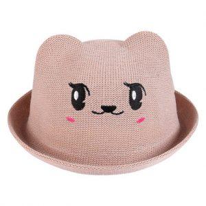 Mũ vành bé gái mặt thú màu be đậm