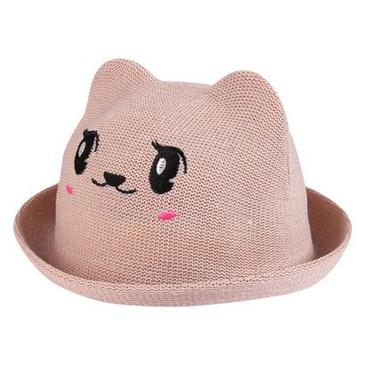 Mũ vành bé gái mặt thú màu be đậm1